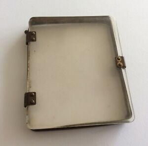 Vintage Antique Perspex Plastic Clear Brass Hinged Display Cigarette Case Box