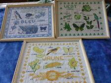 lot 3 abécédaires déco cadres sous verre jaune ,vert ,bleu