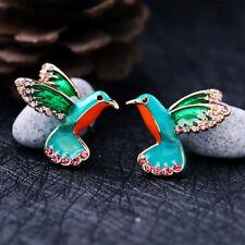 Alloy Enamel Glaze Stud Earring Bird Shape Crystal Drill Earrings Women Gifts