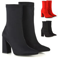 New Womens Block High Heel Stretchy Sock Fit Ladies Ankle Boots Party Size 3-8