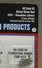 ATLAS HO CODE 83 TO 100 TRANSITION JOINERS nickel silver train track 551 NEW