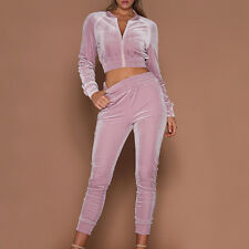 Womens Soft Velvet Tracksuit Hoodies Sweat&Pants Sets Sport Wear Casual Suits