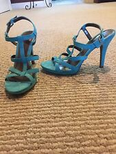 Ann Taylor LOFT Womens Sandals Shoes 7 Heels Faux Suede Blue Teal Turquoise High
