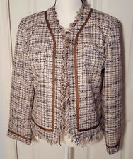 Crossing Pointe Womens Blazer Jacket Brown Tan White Weaved Plaid Lined Size 12