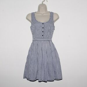 Womens JACK WILLS White Navy Blue Check Sleeveless Dress Size UK 8