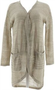 H Halston Textured Space Dye Open Front Cardigan Cactus Green S NEW A278925