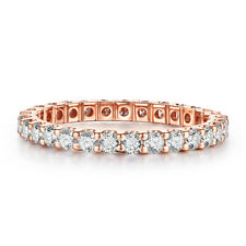 Round Shape 1.2ct Genuine Moissanite Wedding Bands Ring Solid 14K Rose Gold