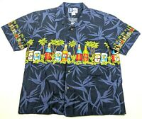 VTG RJC Hawaiian Mens L Shirt Blue Beer Party Tropical Aloha Made in Hawaii