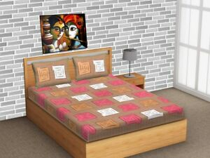 Indian Box Modern Traditional Queen BedSheet With 2 Pillow Covers 100 Cotton MF