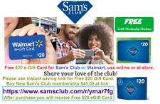 SAM'S CLUB $20 Gift Card for Purchasing $45 New Sams Club Membership