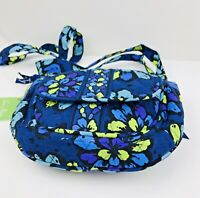 Vera Bradley Retired Lizzy Indigo Pop Quilted  Crossbody Saddle Bag 4 Pockets