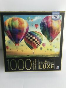 1000 Pc Puzzle Big Ben Luxe Rare Exclusive Puzzle Hot Air Balloons Sunset NEW