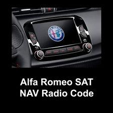 Alfa Romeo Radio Code Stereo PIN Unlock SAT NAV VP2 Fast Service - A2C Serial
