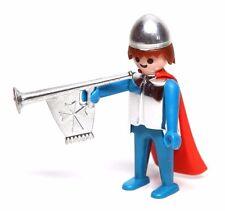 Playmobil Figure Vintage Schaper Castle Blue Knight Cape Helmet Horn RARE 035