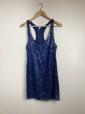 Victoria's Secret Women's Sequin Sheer Racerback Sleeveless Tank Dress Blue Sz S