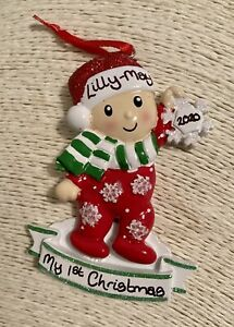 Personalised Baby Toddler Christmas Tree Decoration Bauble Boy Girl Snowflake