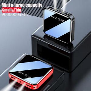 900000mAh Mini LED Dual USB Portable Power Bank External Battery Backup Charger