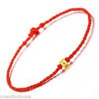 Solid 999 GOLD 24K Yellow Gold Bracelet Lucky Beaded knitted Bracelet 0.10g Bead