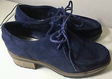 Ladies Clarks Somerset Wallaby Shoes ~ Navy Blue Suede Lace Ups ~ Size 4 UK