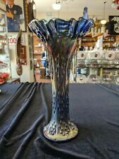 Dark Blue Carnival Glass Tree Trunk Vase 9 1/2 Inches Tall