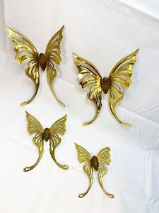 Vintage Metal Hanging Butterflies Copper Brass Aluminum Set Of 4 Wall Art 3-D