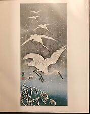 White Birds Flying In Snow By Sho-son Japanese from an original wood block print