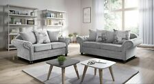 New Large NICOLE fabric Suite CORNER 5 SEATER or 3+2 Verona Sofas GREY OR SILVER