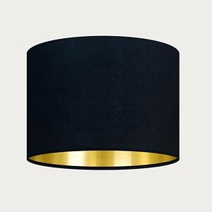 ** SALE ** Midnight Black Velvet Fabric Drum Lampshade with Brushed Gold