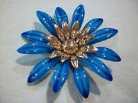 VINTAGE~SARAH COVENTRY~FASHION PETALS 1968~METAL ENAMEL~(HUGE)~BLUE FLOWER PiN