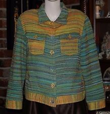 Draper's & Damon's Petites Multi-Color Stripped Jacket Coat HOBO Size PL