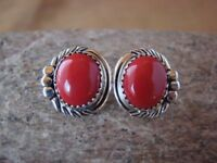 Native American Sterling Silver Coral Post Earrings by Delores Cadman Navajo