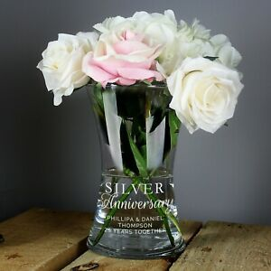 Personalised Silver Glass Vase For 25th Wedding Anniversary Gift Idea Couple
