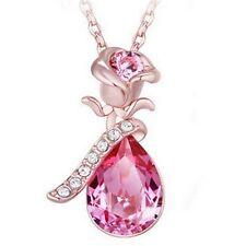 Collier Pendentif Fantaisie Doré Cristal Rose Fleur  Amour Cadeau Bijoux Beauté