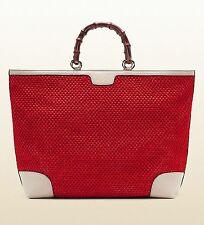 Authentic GUCCI Top Handle Bamboo Shopper Straw Tote Bag, Red/White 338964 6273S