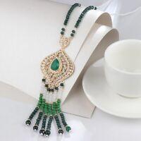 vintage austrian crystal Tassel Necklace Vintage Handmade
