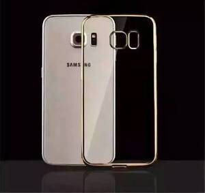 ShockProof Silicone Gold Bumper Clear Slim Case Cover Samsung Galaxy S6 Edge