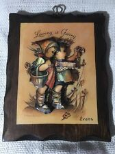 """Hummel 3D Decoupage Wooden Wall Plaque - """"Living Is Giving """" ~ 10"""" X 8"""""""