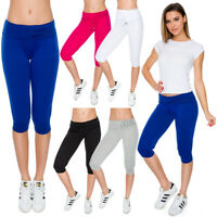 Womens Capri Sports Pants Sportswear Gym Workout Running Fit 3/4 Leggings FS1107