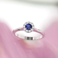 2.5ct Round Brilliant Cut Blue Sapphire Engagement Ring 14k White Gold Over Halo