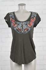 Lucky Brand woman's top size S dk gray butterfly graphic MicroModal light soft