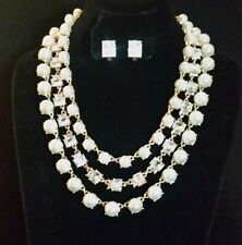 Statement Necklace Gold Pl Faux Pearl Rhinestone Layered Detachbl+ Earrings #325