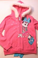 Disney Girl Size X-Large Pink Minnie Mouse Hoodie Jacket with White Faux Fur NEW