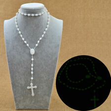 Glow in the Dark Green Prayer Beads Rosary Crucifix Necklace Religion Decoration