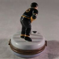 Vintage Limoges Trinket Box Pill Hockey Player & Puck Signed