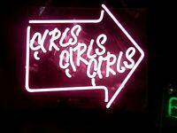 GIRLS GIRLS GIRLS SMALL NEON PINK GAS SIGN * L@@K * NEON LIGHTED