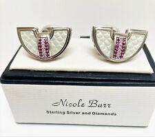 NICOLE BARR Enamel Diamond and Ruby Sterling Silver Cufflinks - Boxed