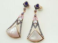 925 Silber Ohrringe mit Zirkonia Steinen  und rose` Perlmutt  38 mm Länge