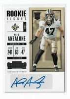 2017 Panini Contenders Rookie Ticket Auto Alex Anzalone New Orleans Saints RC