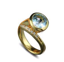 Neues AngebotSchlangenring 1 Aquamarin fein 3,04 carat Brillanten 750-Gelbgold massiv, neu