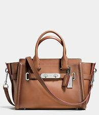NWT $495 COACH 38372 Burnished Leather Swagger 27 Carryall Bag Saddle Brown BAG